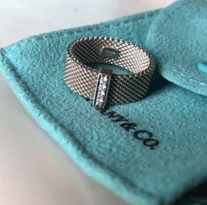 Tiffany's sterling silver five diamond mesh size 7 ring for Sale in Seattle, WA