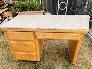 Wood Desk with Granite Top for Sale in Manteca, CA