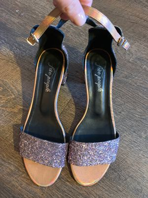 Free people glitter block heel sandals for Sale in Johns Creek, GA