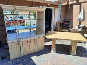 Table and Matching Hutch with 2 Glass shelves for Sale in Las Vegas, NV