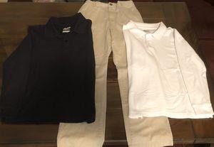 Great Condition! Boys Bundle: (2) Long Sleeve Navy/White 10/12 Uniform Shirts & (1) Pair of Kaki Uniform Pants Size 12 for Sale in Pembroke Pines, FL