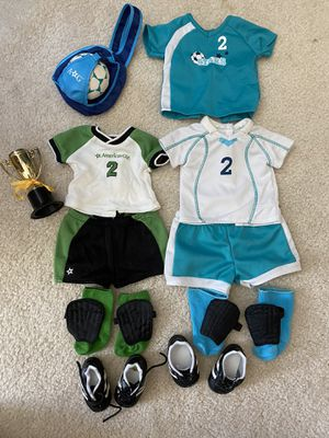 TWO American girl doll Soccer uniforms! for Sale in Mission Viejo, CA