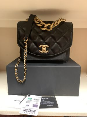 CHANEL Calfskin Caviar Quilted Mini Chain Handle Flap Black for Sale in Houston, TX