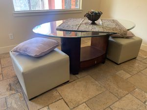 Modern Glass Breakfast table with 2 leather ottoman chairs ! for Sale in Austin, TX