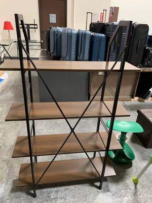 New in box 35x12x55 inches tall book shelf storage cabinet organizer book shelf rack dark oak black steel frame for Sale in Los Angeles, CA