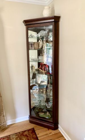 Antique China Display Wood / Glass Curio Corner Cabinet Shelf for Sale in Lombard, IL