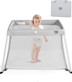 Portable Baby Playpen Playard Lightweight w/ Travel Bag For Newborn Toddler Gray for Sale in Moreno Valley,  CA