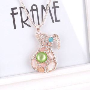 Brand New 14K Gold Plated Opal Gemstones Cubic Zirconia Necklace Chain In Package for Sale in Austin, TX