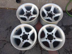 15x8 aluminum wheels. 5 on 5.5 lugs, Dodge, Ford, Jeep, more for Sale in Montebello, CA
