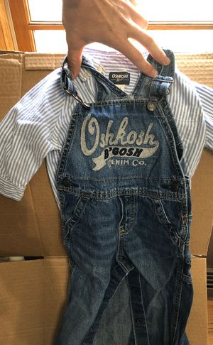 Oshkossh bgosh overalls and long sleeve dress shirt 18m for Sale in Glen Ellyn, IL