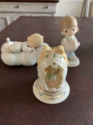 Vintage Precious Moments Figurines LOVE LIKE NO OTHER Christmas Ornament 1998 CAN'T TAKE IT WITH YOU 1992 SAFE IN ARMS OF JESUS for Sale in West Chester, PA