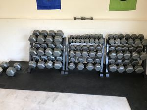 Entire dumbbell set with racks for Sale in Santa Ana, CA