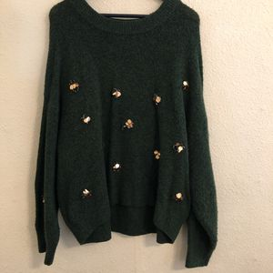 Oversized Forest Green H&M Sweater w/ Golden Bee Detail - Large for Sale in Oakland, CA