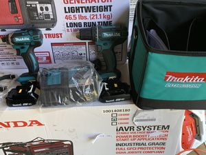 Brand new makita drills set 2 batteries and charger tote bag for Sale in Plant City, FL