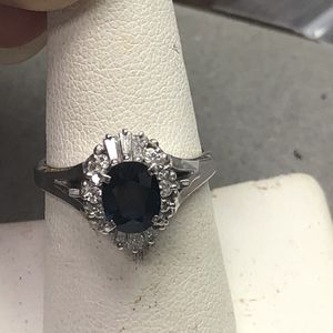 Platinum sapphire & diamond ring size 7.5 for Sale in Baltimore, MD