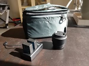 Lumix G 25mm f1.7 lens and extra batteries and bag for Sale in Oakley, CA