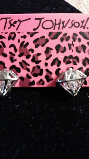 Betsey Johnson crystal diamond shape earrings for Sale in Fresno, CA
