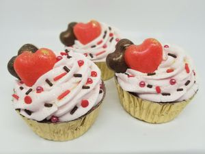 Chocolate Cupcake Bath Bombs with Strawberry Fizzy Frosting-Set of 3 for Sale in Albion, IN