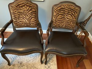 Occasional Chairs with animal print backs and rich leather seats. for Sale in Leesburg, VA