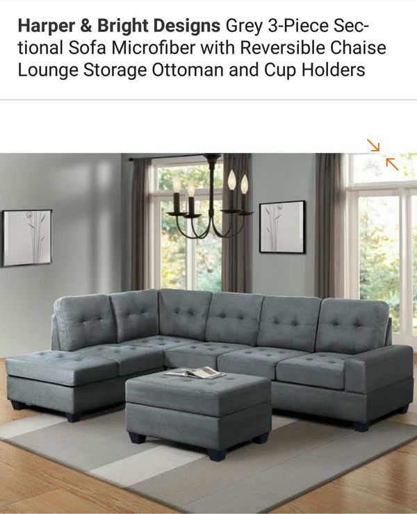 3 Piece Sectional Sofa Microfiber with Reversible Chaise Lounge Storage Ottoman & Cup holders
