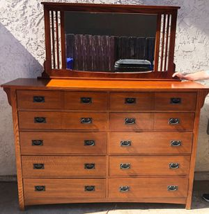 Cherry Wood Bassett Dresser with Mirror for Sale in San Diego, CA