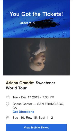 Ariana Grande Tour Tickets for Sale in San Francisco, CA