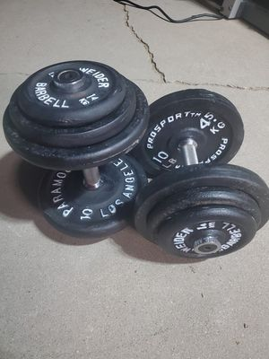 Set of 36lb adjustable dumbbells .. 2x36lbs dumbbells .. total of 72lbs in weights for Sale in Hesperia, CA
