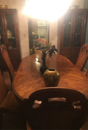 Dinning room table with 2 glass showcase and 6 chairs for Sale in Tucson, AZ