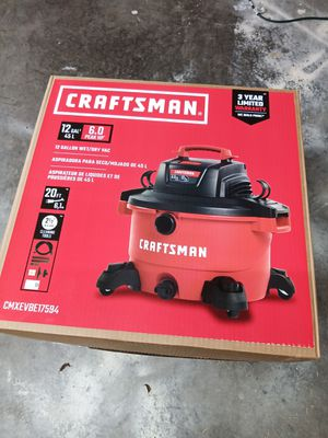 Craftsman 12 gal. Corded Wet/Dry Vacuum 10.5 amps 120 volt 6 hp Red NEW!!! PRICE NOT NEGOTIABLE for Sale in Fort Lauderdale, FL