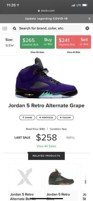 Jordan 5 Alternate Grapes Size 9.5 for Sale in Concord, CA