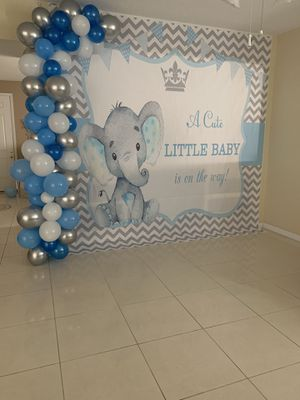 Baby shower boy backdrop , background vinyl for Sale in Kissimmee, FL