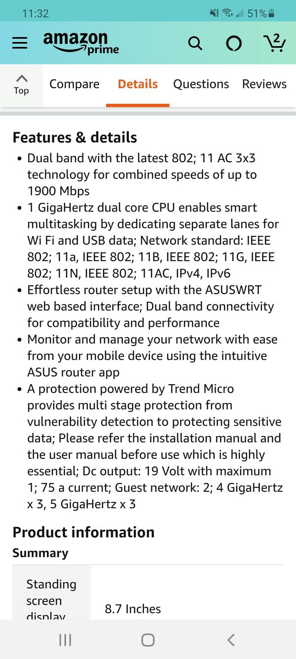 Asus ac1900 dual band Wifi router 5g