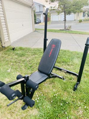 Adjustable squat rack with adjustable workout weight bench and leg extensions for Sale in Renton, WA