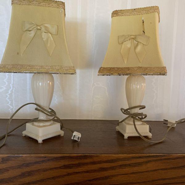 Price Reduced - Vintage Antique White Porcelain Table Lamps