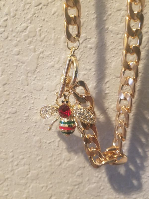 New jeweled bee necklace