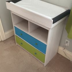 White Changing Table With Blue And Green Canvas Drawers for Sale in Tampa,  FL