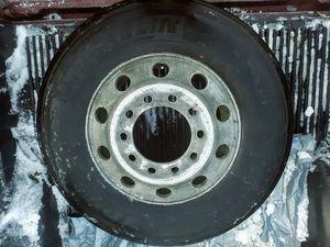 275 80r 22.5 semi truck trailer tire w/ rim for Sale in Tacoma, WA