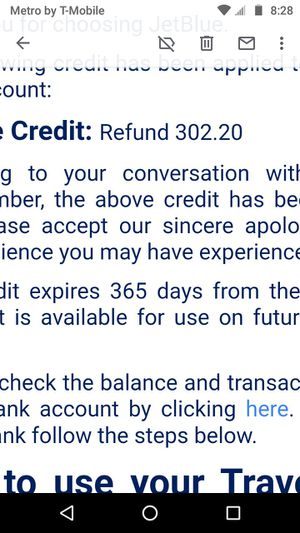 JetBlue Airline Credit $302.20 for Sale in Helena, MT