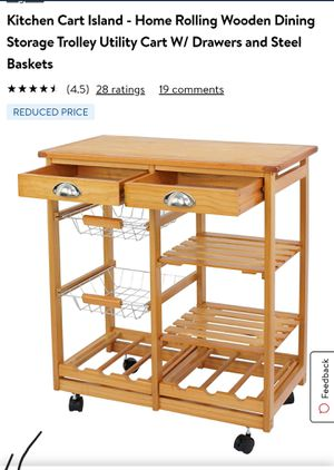 Kitchen cart island,home rolling wooden dining storache trolley utility cart. for Sale in Montebello, CA