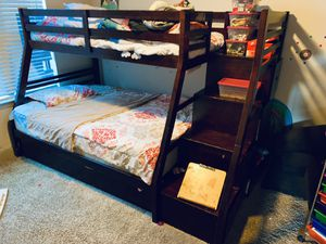 Twin over Full Storage Bunk Bed w/Trundle for Sale in Houston, TX