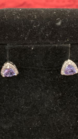 Amethyst and Diamond Earrings. Glamorous. for Sale in Silver Spring, MD