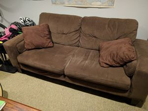 Dark brown microfiber couch, armchair, ottoman set for Sale in Washington, DC