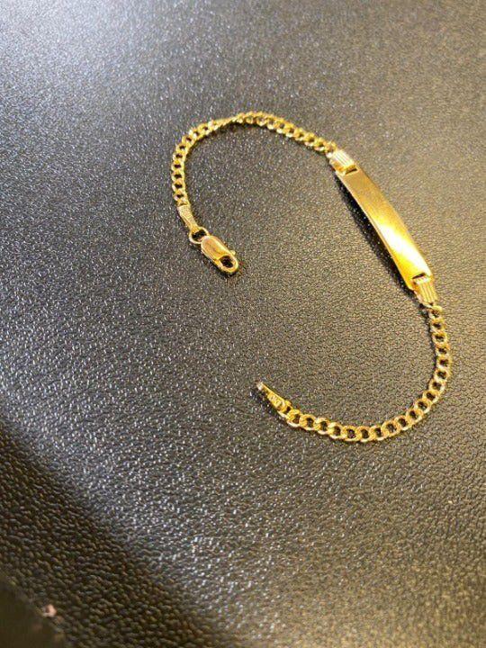 """10k Gold 5.5"""" Curb Link ID Bracelet"""