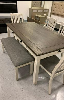 Piece (Table+4 Chairs+Bench)Willowbend White Dining Set for Sale in Laurel,  MD