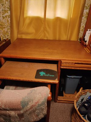 Wooden computer office desk with computer chair for Sale in Brooklyn, OH