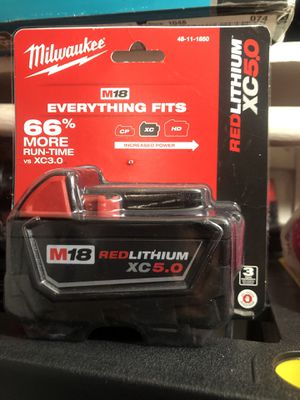 Milwaukee battery 5.0 for Sale in Los Angeles, CA