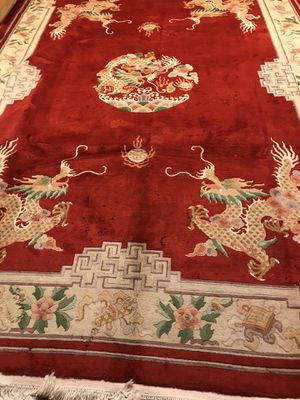 REDDISH ORANGE DRAGON HAND-KNOTTED RUG for Sale in Aurora, CO
