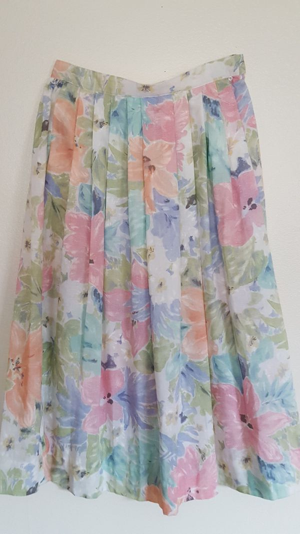 Vintage 80s 90s pastel floral flower high waisted skirt