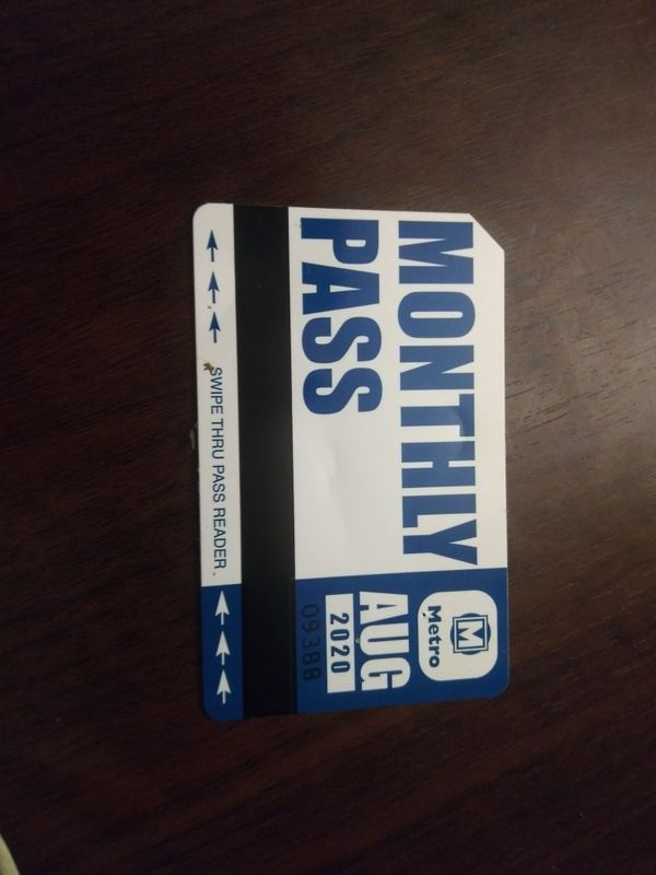 Monthly bus pass for AUGUST