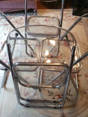 Vintage Mid Century 4 of Folding Chairs Italian Lucite Plastic Chrome for Sale in Rockville, MD